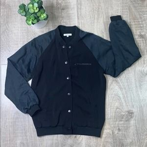Surface To Air Snap Button Bomber Jacket Black and Blue